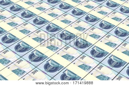 Paraguyan Guarani bills stacked background. 3D illustration.