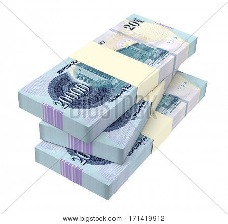 Paraguyan Guarani bills isolated on white background. 3D illustration.