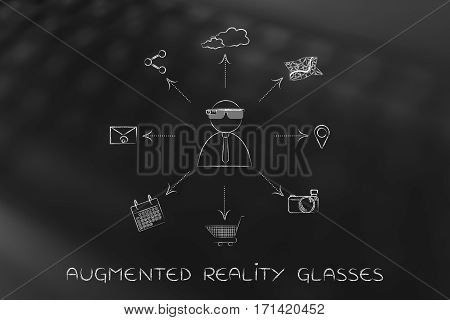 Augmented Reality Glasses User Surrounded By App Icons