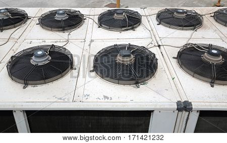 Air Conditioning External Unit With Ventilation Fans