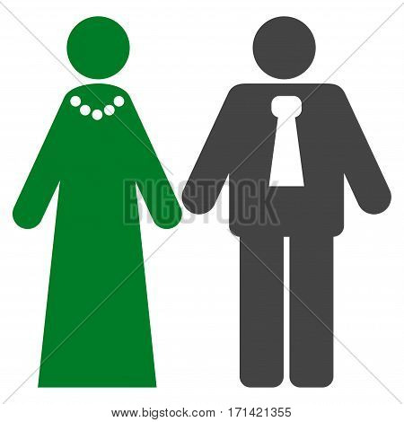 Newlyweds flat icon. Vector bicolor green and gray symbol. Pictogram is isolated on a white background. Trendy flat style illustration for web site design, logo, ads, apps, user interface.