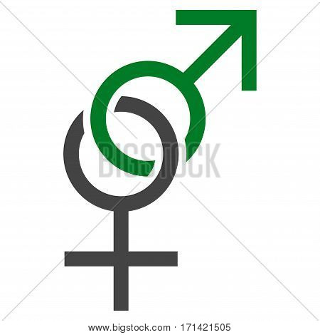 Sex Symbol flat icon. Vector bicolor green and gray symbol. Pictogram is isolated on a white background. Trendy flat style illustration for web site design, logo, ads, apps, user interface.