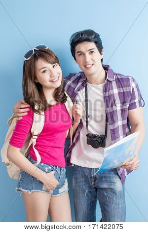 young couple go to travel and smile happily