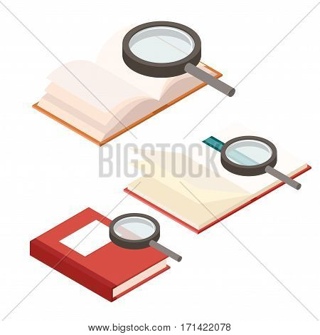 Vector image of the Search in book icons