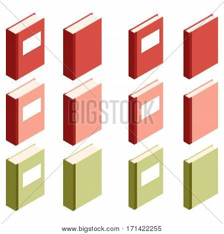 Vector image of the Set of books isometric icons3