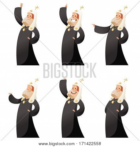 Vector image of the Set of orthodox priests
