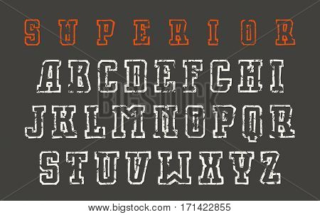Slab serif contour font in the style of hand-drawn graphics. Print on black background