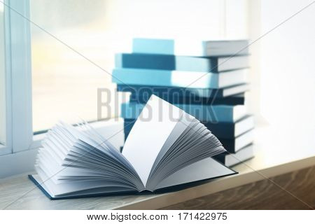 New books on windowsill