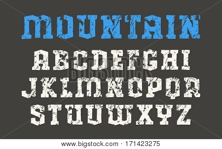 Serif font in the style of hand-drawn graphics. Print on black background