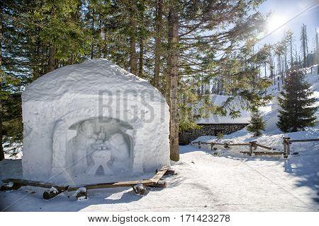 HREBIENOK SLOVAKIA - JANUARY 24: Bethlehem from snow in High Tatras mountains on January 24 2017 in Hrebienok