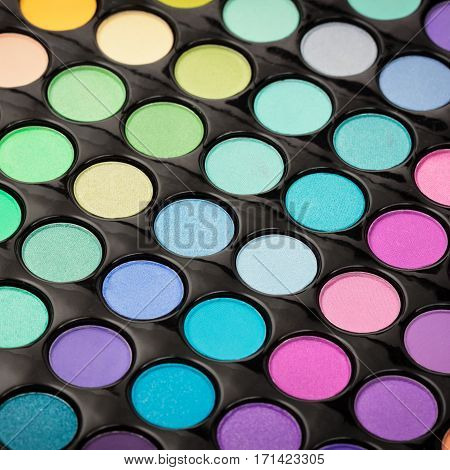 Make-up powder background. Closeup of beautiful make-up palette