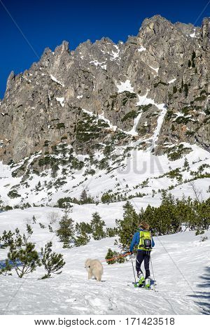 Ski touring in High Tatras mountains in Slovakia