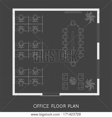 Office interior project top view plan with reception, meeting room and working space vector illustration