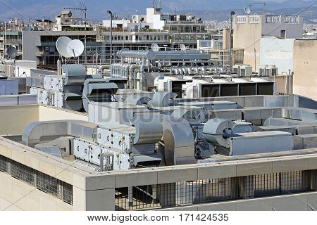 Air Conditioner and Heating Ventilation at Building Roof
