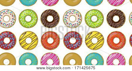 Donut doughnuts different setting set collection taste color glazed donut sweet pastry seamless beautiful food pattern background texture vector closeup top view illustration isolated white background