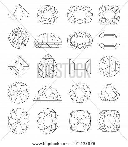 Diamond symbols. Line gems isolated on white background. Vector illustration.