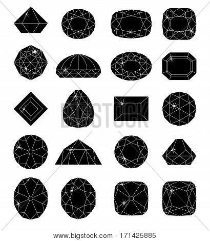 Diamond symbols. Black gems isolated on white background. Vector illustration.