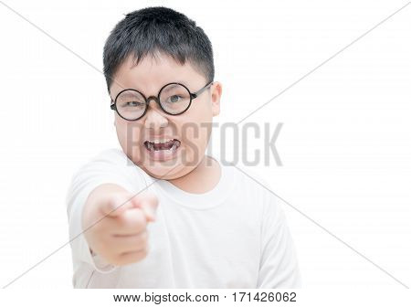 Serious Or Angry Obses  Kid Points Index Finger Isolated