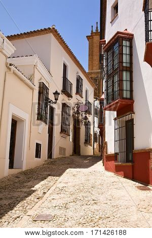 Local neighborhoods with walking streets in town of Ronda, in southern Spain. No cars allowed.
