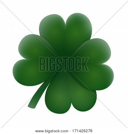 Realistic natural green clover leaf. Element for any design. Web icon or badge. Vector illustration art.