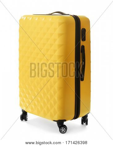 Yellow traveller suitcase isolated on white
