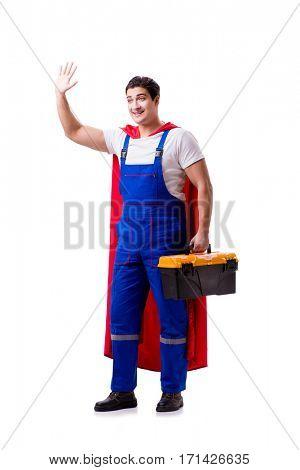 Superhero repairman isolated on white background