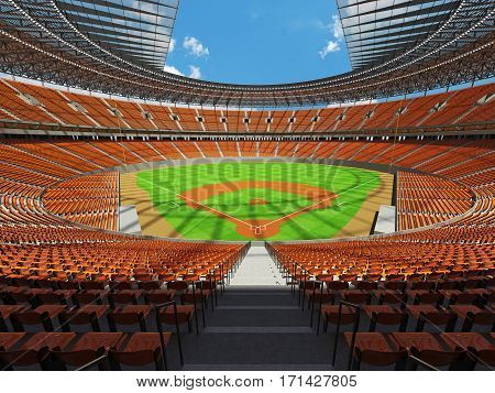 3D render of beautiful modern baseball stadium with orange seats for hundred thousand people with VIP boxes