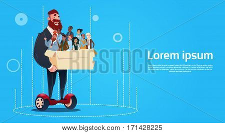Business Man Ride Electric Scooter Carry Box Candidates Employees Human Resources Flat Vector Illustration