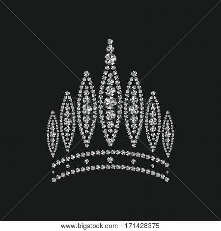 abstract crown inlaid with diamonds, vector art