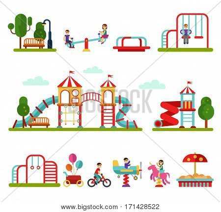 Flat design vector illustration set of playground and attractions elements for infographic design. Boys and girls on swings, slides and tube, carousel, sandpit and sandbox, ball, teeter board.
