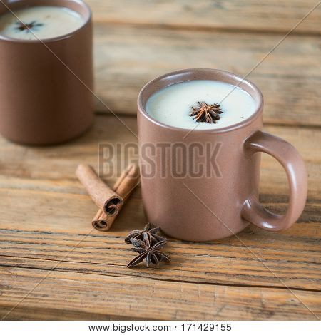 Traditional Indian Masala Tea. Spiced Tea With Milk. Square