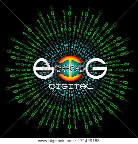 Binary code and stylized inscription Big Bang Digital. Abstract vector background. Data and technology, decryption and encryption, computer matrix illustration.