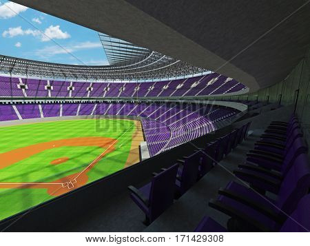 3D render of baseball stadium with purple seats VIP boxes and floodlights for hundred thousand people
