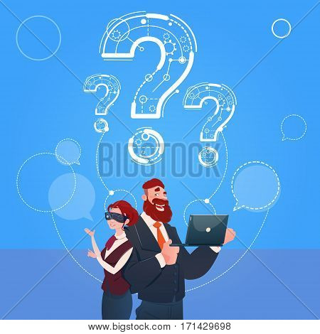 Business Man And Woman Wear Digital Reality Glasses Question Mark Ponder Problem Concept Flat Vector Illustration