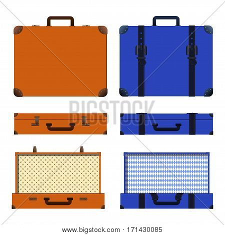 Set of old suitcases. Brown and blue retro suitcase. Vintage baggage. Vintage travel bags. Vector illustration.