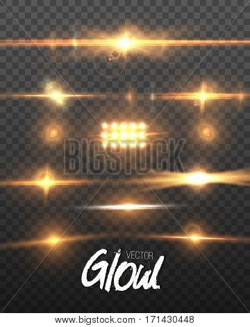 Illustration of Vector Lens Flare Effect. Transparent Vector Glow Lens Flare Ray Effect. Vector EPS10 Bright Sunflare Explosion Template