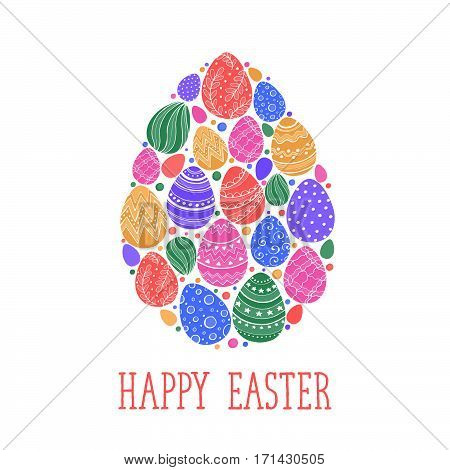 Composition with easter eggs hand drawn black on white background. Easter greeting card in egg shape.