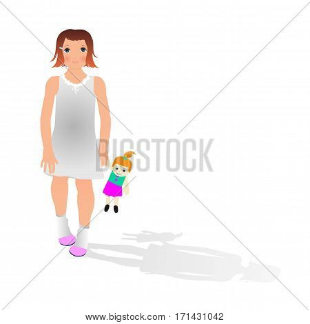 vector Illustration of girl with doll on white