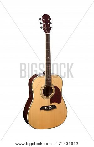 Natural Wooden Classical Acoustic Guitar Isolated on a White Background.