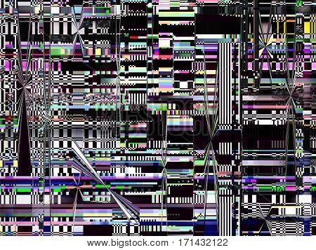 Glitch background. Computer screen error. Digital pixel noise abstract design. Television signal fail. Data decay. Glitch tv screen. Grunge wallpaper. Monitor technical problem.
