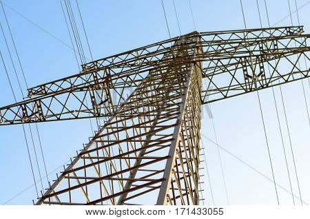 High Tension Power Lines In Sky