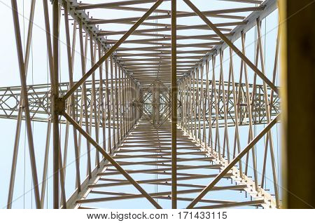 View Looking Directly Up Into Power Lines