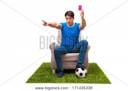 Man watching sports isolated on white background