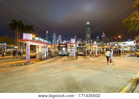 HONG KONG - CIRCA NOVEMBER, 2016: Hong Kong urban landscape at nighttime. Hong Kong  is an autonomous territory on the Pearl River Delta of East Asia.