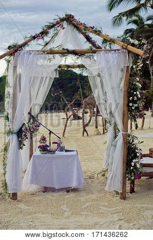 Beautiful Wedding Set Up. The Wedding Ceremony In The Tropics