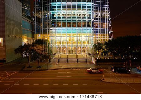 HONG KONG - CIRCA NOVEMBER, 2016: the Two IFC in Hong Kong at nighttime. Hong Kong  is an autonomous territory on the Pearl River Delta of East Asia.
