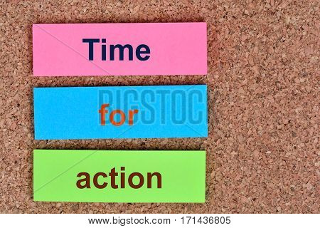 Time for action words on colorful notes