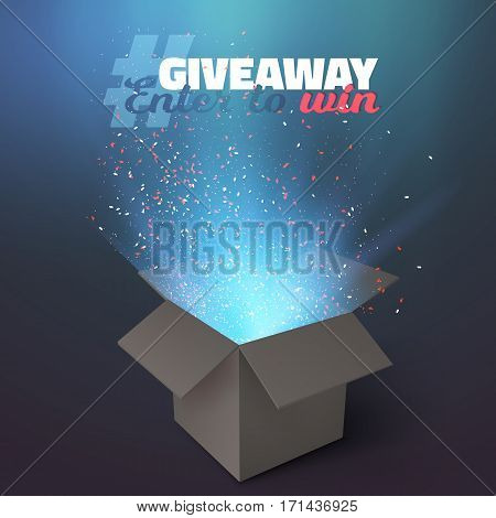 Illustration of Vector Box Giveaway Competition Template. Open Box with Confetti and Magic Light Enter to Win Prize Concept