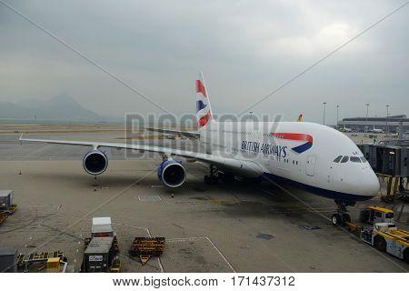 HONG KONG - NOV. 9, 2015: British Airways Airbus 380-800 at the gate in Hong Kong International Airport (Chek Lap Kok Airport).