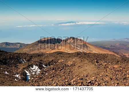 Panoramic view of Pico Viejo El Teide National Park Tenerife Canary Islands Spain